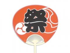 手貼りポリうちわ・祭り巴(赤)(丸柄A・市松)
