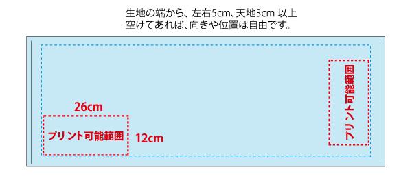 タオルの名入れ位置とサイズ