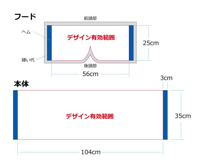 フード付きタオルの名入れ位置とサイズ
