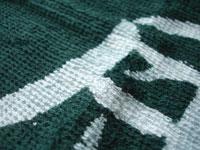 白抜きの一部分に染料の緑色が薄く残ります
